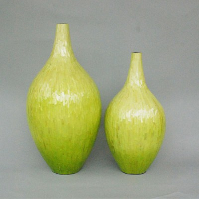 Lime vases with MOP, set of 2